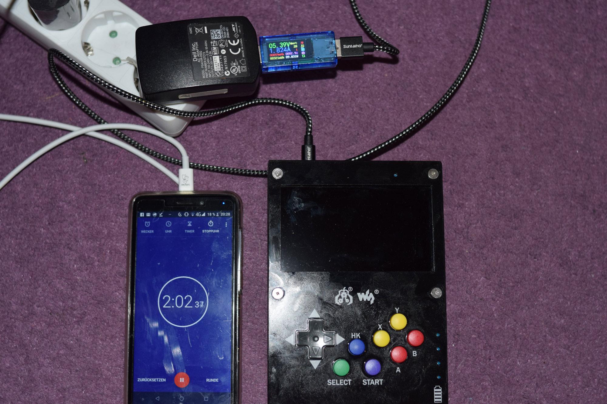 Gamepi43 Versuchsaufbau zum Messen des Energiebedarfs